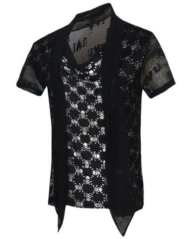 Buy Skulls Printed Faux Twinset Short Sleeves T-Shirt For Men