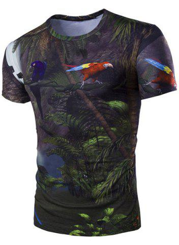 Hot Slimming 3D Parrot Printed Round Collar Short Sleeves T-Shirt For Men BLACK M