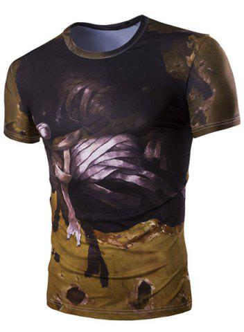 Trendy Slim Fit 3D Mummy Printed Round Collar Short Sleeves T-Shirt For Men