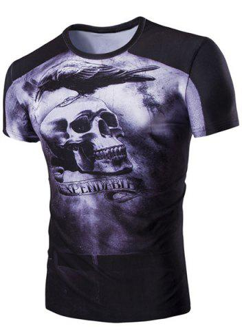 Outfit Slim Fit Skull Printed Round Collar Short Sleeves T-Shirt For Men