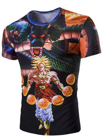 Fancy Slim Fit 3D Dragon Printed Round Collar Short Sleeves T-Shirt For Men