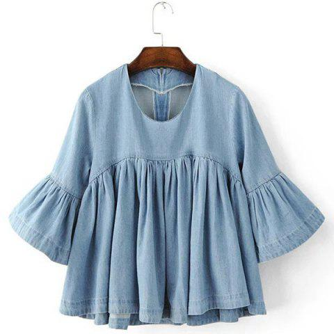 Outfits Scoop Neck Half Sleeves Denim Ruffle Shirt