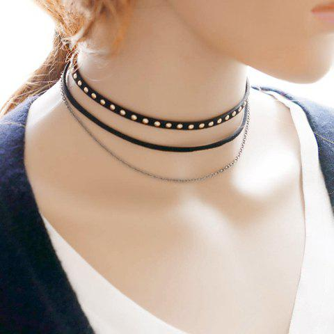 Chic Punk Style Mulatilayered Rivet Choker Necklace For Women BLACK