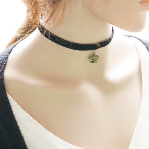 Trendy Vintage Crown Choker Necklace For Women BLACK