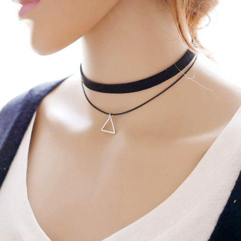 Online Punk Layered Triangle Choker Necklace BLACK