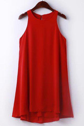 Outfits Simple Design Solid Color Jewel Neck Sleeveless Dress For Women