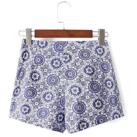 Hot Ethnic Style High Waist Floral Print Shorts For Women
