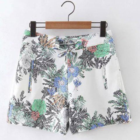 Store Stylish High Waist Floral Print Shorts For Women