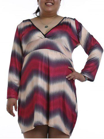 Shops Chic Plunging Neck Long Sleeve Plus Size Zigzag Stripe Nightdress For Women RED 3XL
