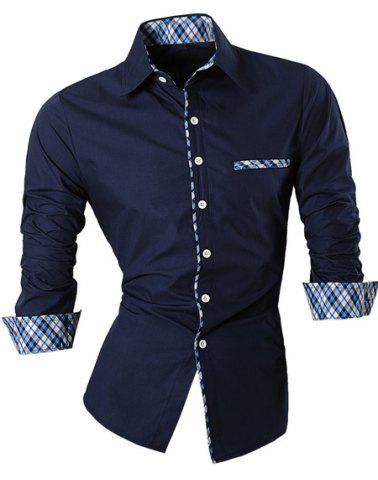 Fancy Hot Sale Single Breasted Turn Down Collar Splicing Plaid Shirt For Men
