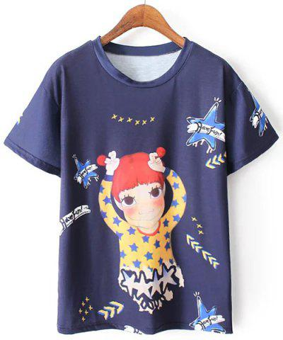 Shop Cute Scoop Neck Short Sleeves Printed Tee For Women