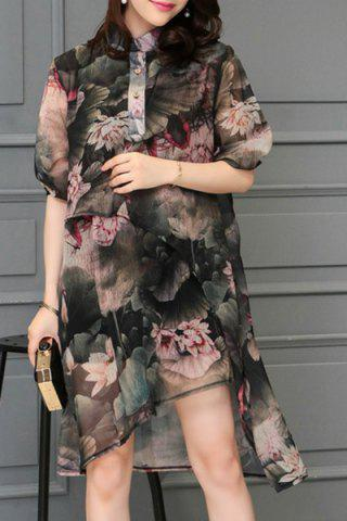 Discount Stylish Stand Collar 1/2 Sleeve Floral Print Dress For Women