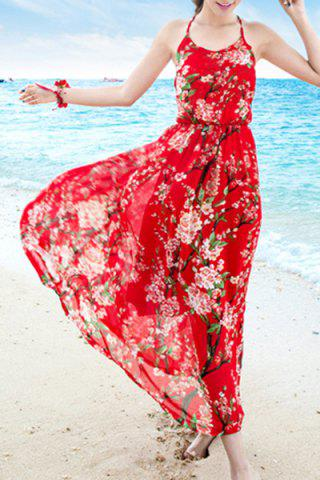 Discount Floral Criss Cross Backless Boho Slip Dress - M RED Mobile