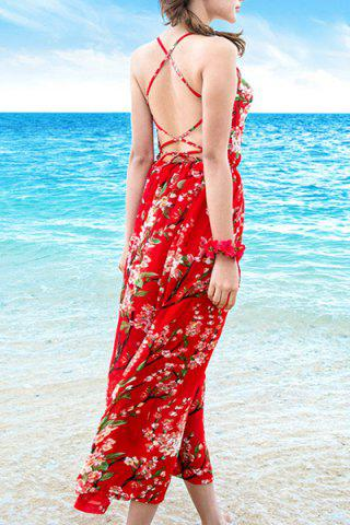 Unique Floral Criss Cross Backless Boho Slip Dress - M RED Mobile