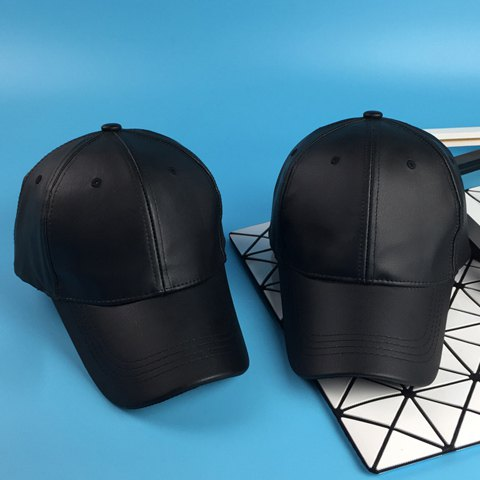 Élégant Noir PU Baseball Cap For Men