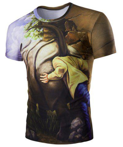 Chic Slim Fit 3D Rhino Printed Round Collar Short Sleeves T-Shirt For Men