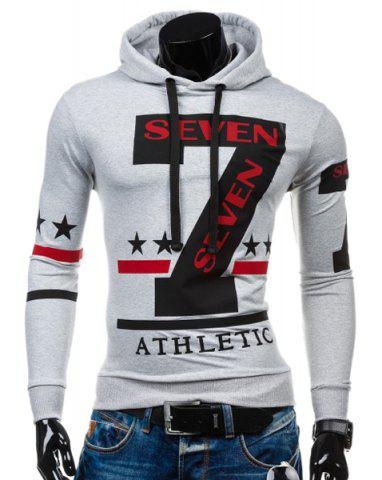 Store Popular Personality Hooded Star Letters Number Pattern Long Sleeves Hoodie For Men WHITE XL