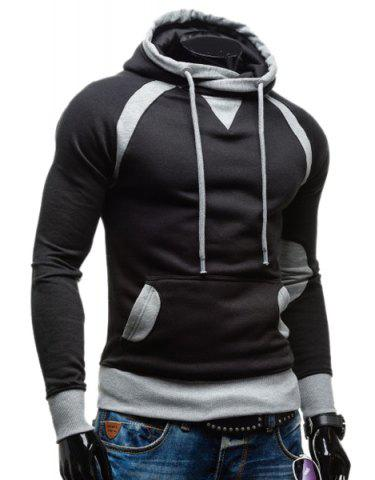 Buy Simple Double Color Splicing Drawstring Hooded Long Sleeves Hoodie For Men BLACK L