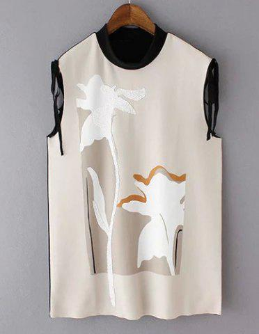 Elegant Stand-Up Collar Sleeveless Patchwork Women's Blouse