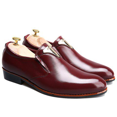 Discount Trendy Metal and Solid Color Design Formal Shoes For Men - 43 WINE RED Mobile