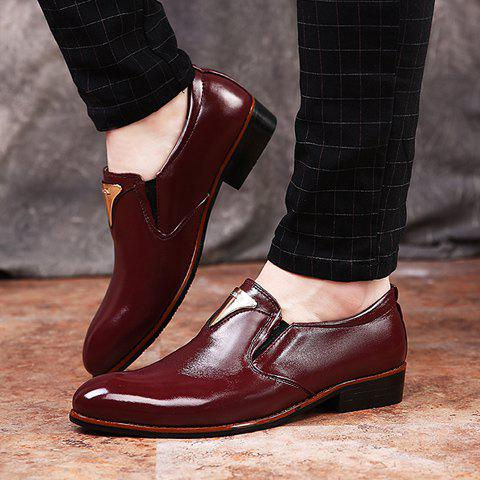 Chic Trendy Metal and Solid Color Design Formal Shoes For Men - 43 WINE RED Mobile