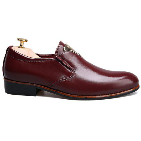 Fancy Trendy Metal and Solid Color Design Formal Shoes For Men - 43 WINE RED Mobile