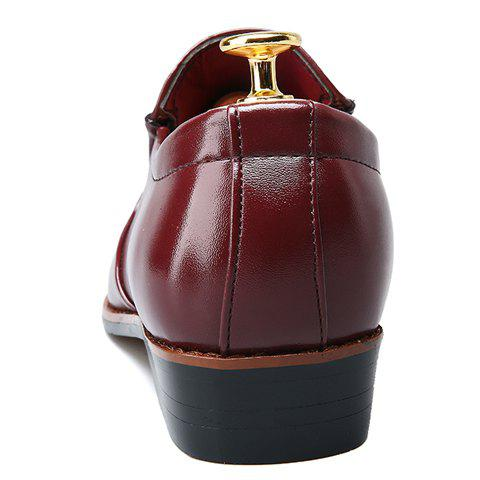 Store Trendy Metal and Solid Color Design Formal Shoes For Men - 43 WINE RED Mobile