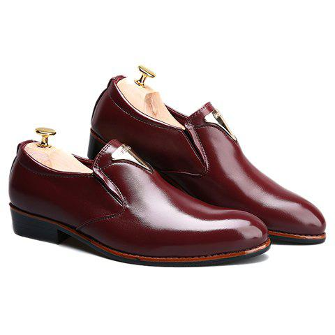 Outfits Trendy Metal and Solid Color Design Formal Shoes For Men - 43 WINE RED Mobile