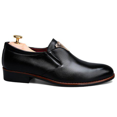 Chic Trendy Metal and Solid Color Design Formal Shoes For Men - 42 BLACK Mobile
