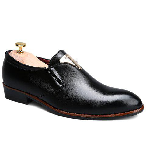 Fancy Trendy Metal and Solid Color Design Formal Shoes For Men - 42 BLACK Mobile