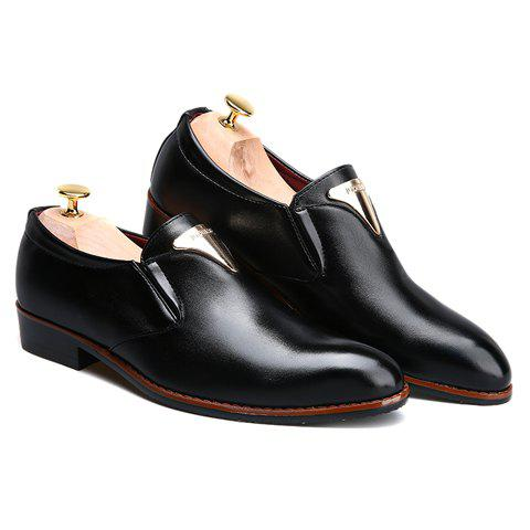 Outfit Trendy Metal and Solid Color Design Formal Shoes For Men - 42 BLACK Mobile
