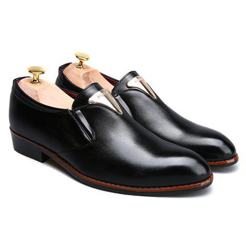 Shops Trendy Metal and Solid Color Design Formal Shoes For Men - 42 BLACK Mobile