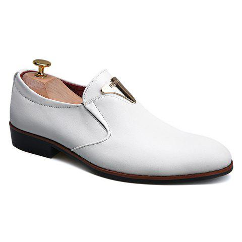 New Trendy Metal and Solid Color Design Formal Shoes For Men WHITE 41