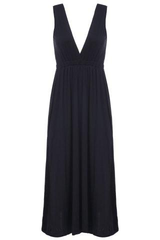 Alluring Plunging Neck Sleeveless Solid Color High Furcal Women's Dress - BLACK M