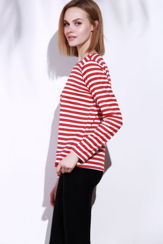 Online Casual Round Collar Stripes Print Long Sleeve T-Shirt For Women - S RED Mobile
