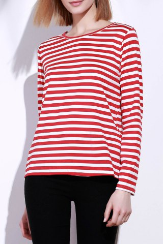 Cheap Casual Round Collar Stripes Print Long Sleeve T-Shirt For Women RED S