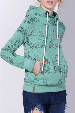 Discount Stylish Hooded Long Sleeve Deer Print Women's Hoodie