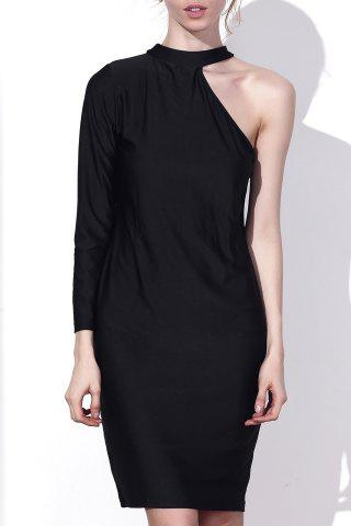 Online Sexy Round Collar One-Piece Sleeve Solid Color Bodycon Midi Dress For Women