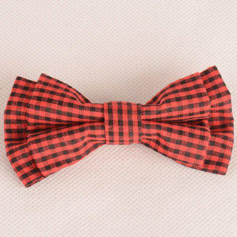 Cheap Stylish Tartan Pattern Red and Black Double-Deck Bow Tie For Men