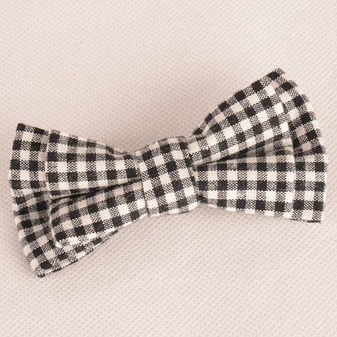 Online Stylish Tartan Pattern Black and White Double-Deck Bow Tie For Men WHITE AND BLACK
