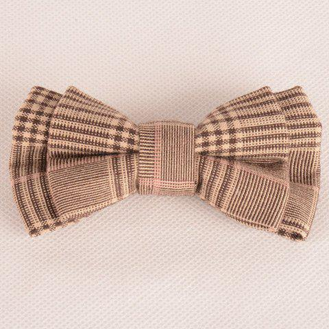 Latest Stylish Tartan Pattern Coffee Color Double-Deck Bow Tie For Men COFFEE