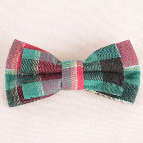Affordable Stylish Tartan Pattern Green and Red Double-Deck Bow Tie For Men