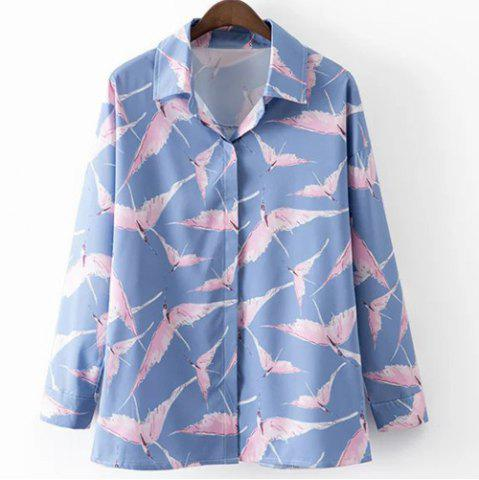 Store Leisure Style Shirt Collar Long Sleeve All-Over Birds Print Shirt For Women BLUE AND PINK L