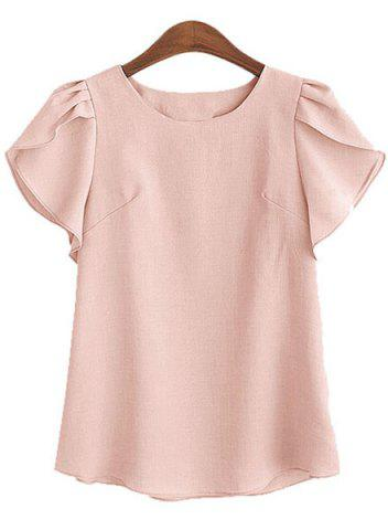 Fashion Charming Round Collar Petal Sleeve Solid Color Loose Blouse For Women PINK 2XL