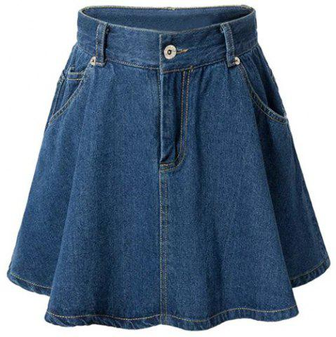 Discount Fashionable High Waist Solid Color Zipper Fly Denim Skirt For Women