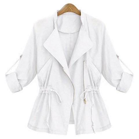 Fancy Stylish Turn-Down Collar Long Sleeve Solid Color Waist Drawstring Coat For Women