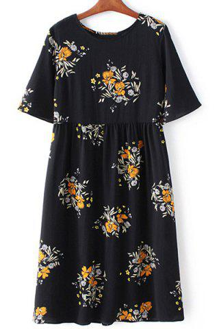 Cheap Retro Style Round Collar Short Sleeve Floral Print Loose Dress For Women