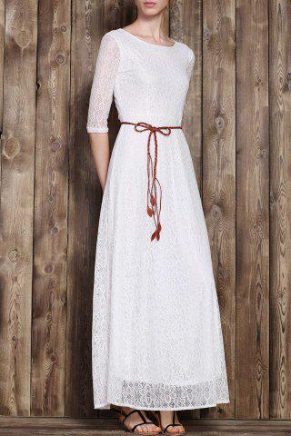 New Romantic Solid Color 3/4 Sleeve Hollow Out Maxi Dress For Women