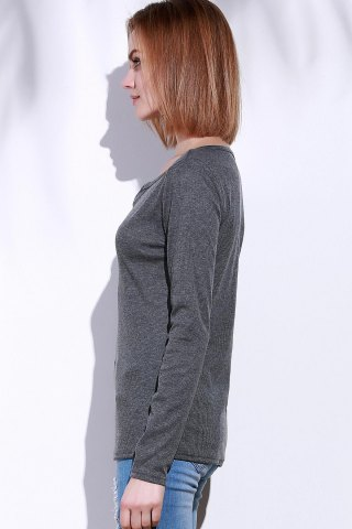 Trendy Casual V-Neck Long Sleeve Pure Color T-Shirt For Women - S GRAY Mobile