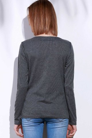 Fashion Casual V-Neck Long Sleeve Pure Color T-Shirt For Women - L GRAY Mobile